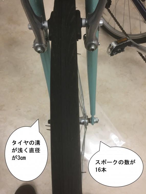 ロードバイク寄りのクロスバイクのタイヤ画像